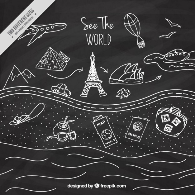 Trip drawings in blackboard effect Free Vector