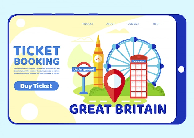 Trip to great britain. london famous sightseeings Premium Vector