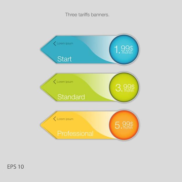 ホスティング用のトリプルバナー。 3つの関税バナー。 web価格表。 webアプリ用。矢印スタイル。 Premiumベクター