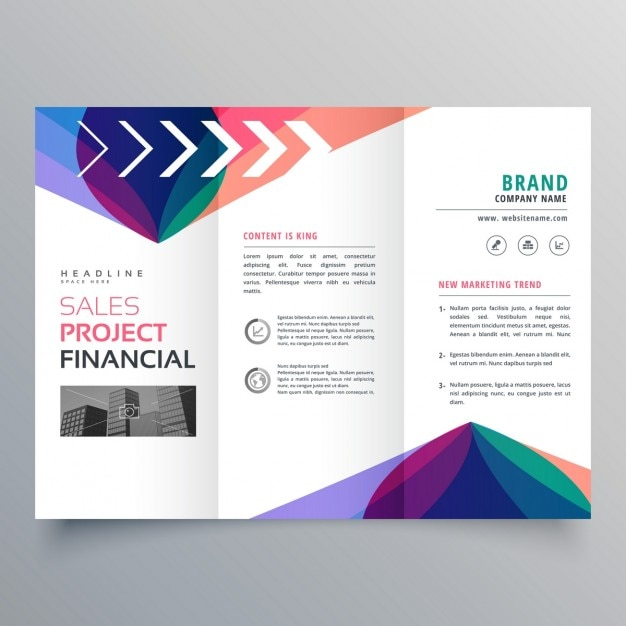 Triptych brochure with colorful abstract shapes Free Vector