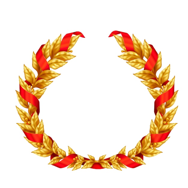 Triumphal golden laurel wreath of winner entwined with red ribbon realistic sign Free Vector