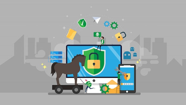 Trojan horse and malware protection tiny people character illustration Premium Vector