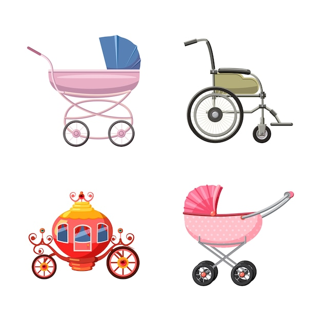 Trolley set. cartoon set of trolley Premium Vector
