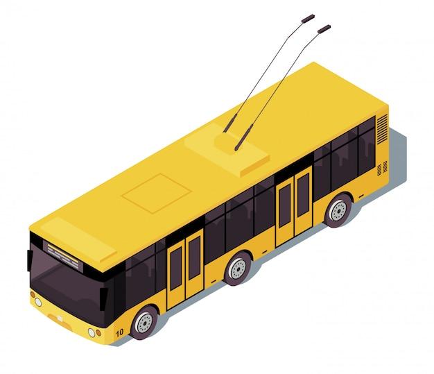 トロリーバス等尺性カラーイラスト。市の公共交通機関のインフォグラフィック。生態学的な都市交通。無軌道のトロリー。白い背景に分離された電気自動車3 dコンセプト Premiumベクター