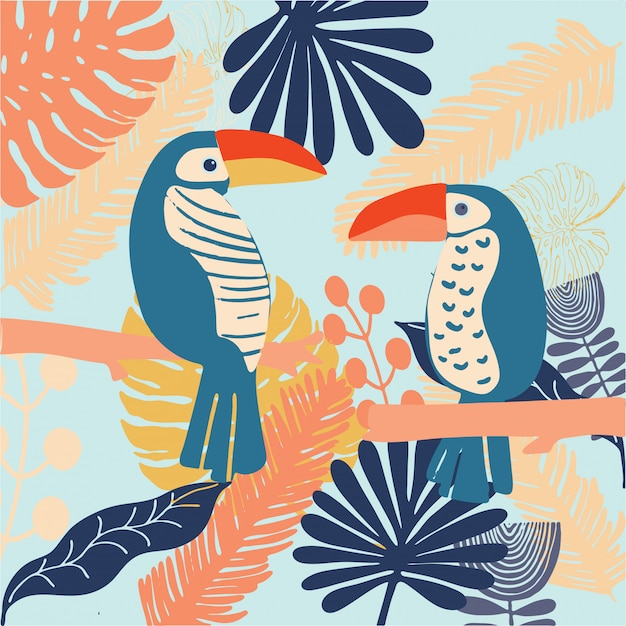Tropcal birds toucan colourful and bright vector Premium Vector