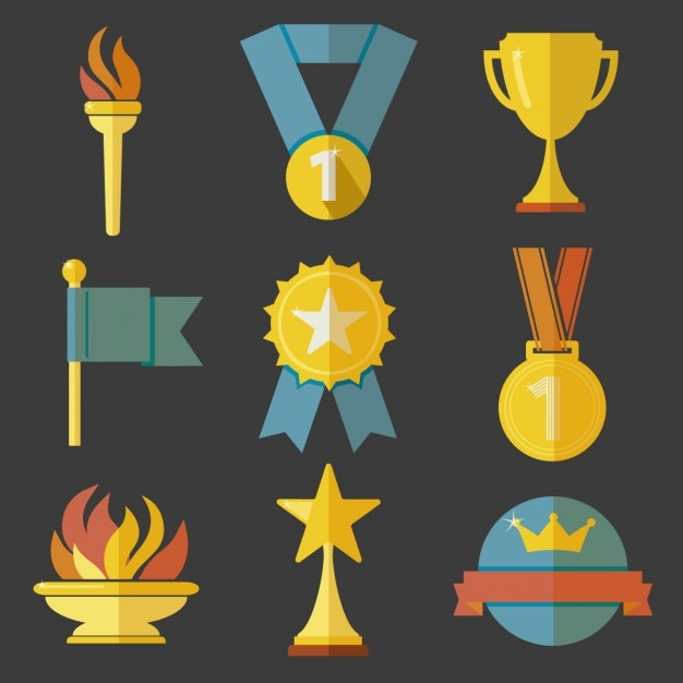 Trophies icons in flat design Free Vector