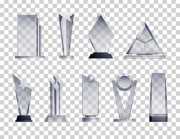 Trophies transparent realistic set with winner symbols isolated Free Vector