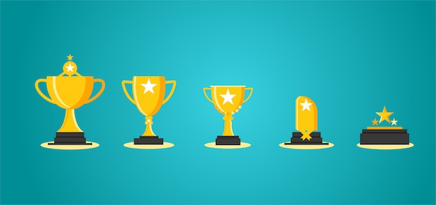 Trophy 5 out of aggression Premium Vector