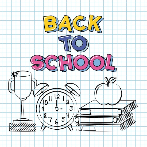 Trophy, alarm clock, books and apple, back to school doodle drawn on a grid sheet Free Vector