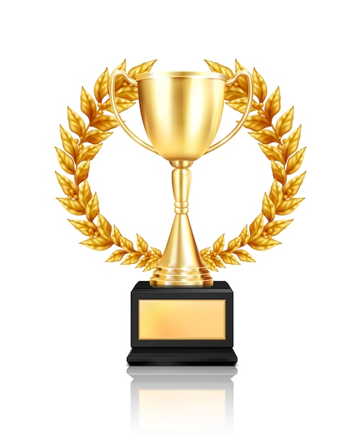 Trophy award laurel wreath composition with realistic image of golden cup decorated with garland with reflection Free Vector
