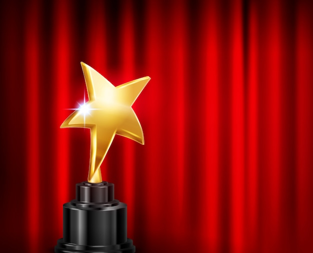 Trophy award red curtain background realistic composition with image of golden star shaped cup on pedestal Free Vector