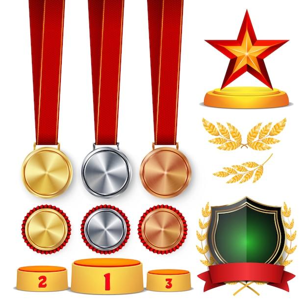 Trophy awards set illustration Premium Vector