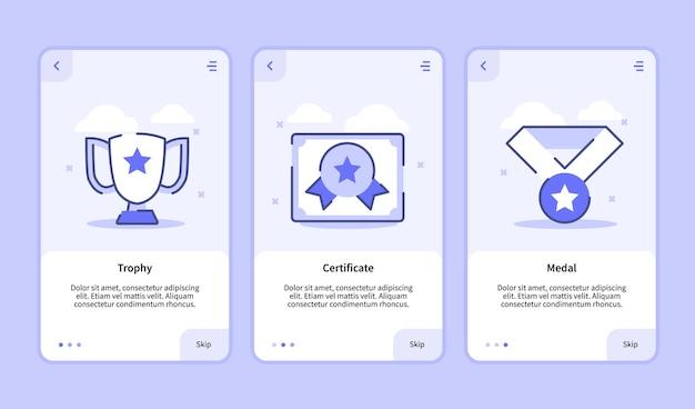 Экран загрузки медали трофейного сертификата для пользовательского интерфейса страницы баннера шаблона мобильных приложений Premium векторы