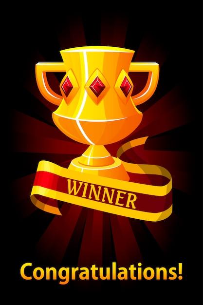 트로피 컵, 리본 상, Ui 게임 리소스 배경. 우승자를위한 트로피 컵 상. 로고, 라벨, 게임 및 앱 요소. 프리미엄 벡터
