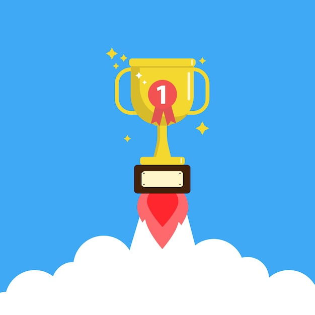 Trophy cup rocket launch, award Premium Vector