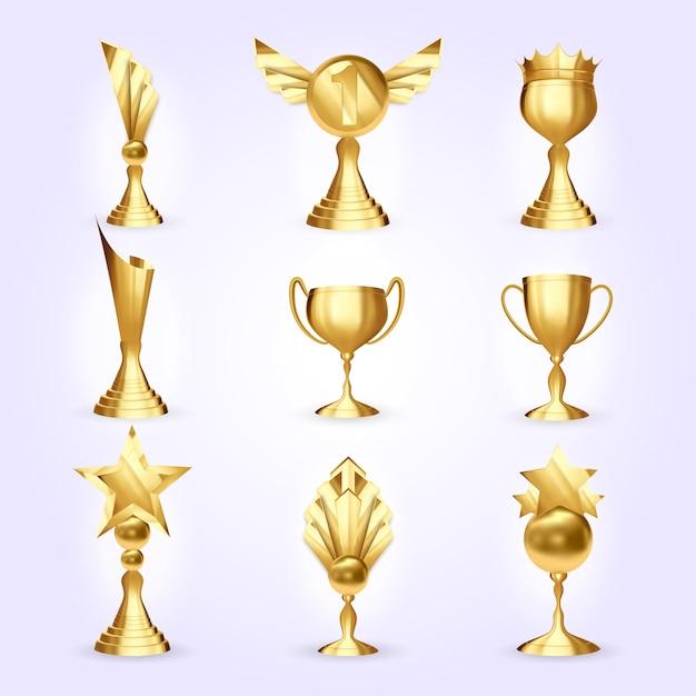 Trophy cups set Premium Vector
