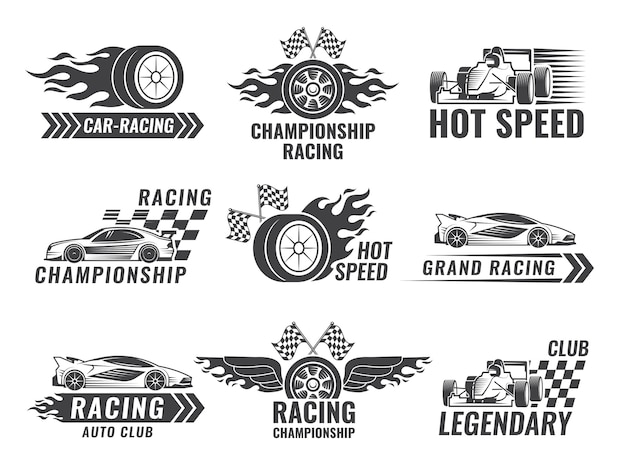 Trophy, engine, rally and others symbols for race sport labels Premium Vector