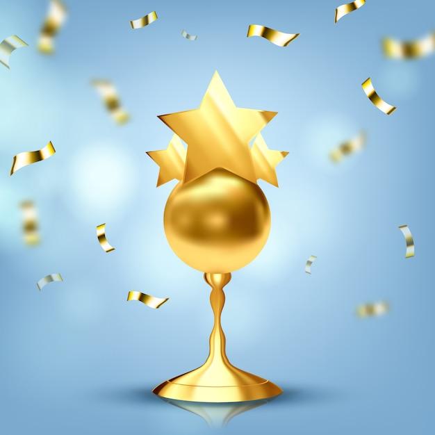 Trophy golden cup Premium Vector