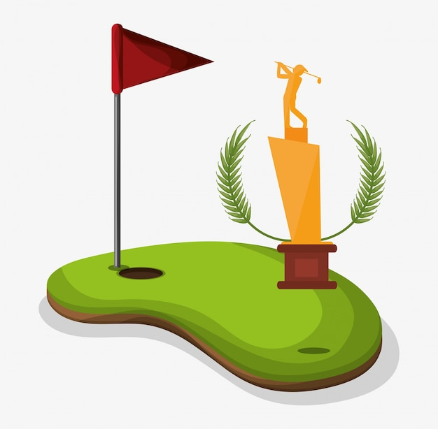Trophy Golf Player Field Flag Hole One Premium Vector
