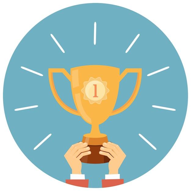 Трофей, руки, держа победитель кубка векторные иллюстрации в плоском стиле Бесплатные векторы