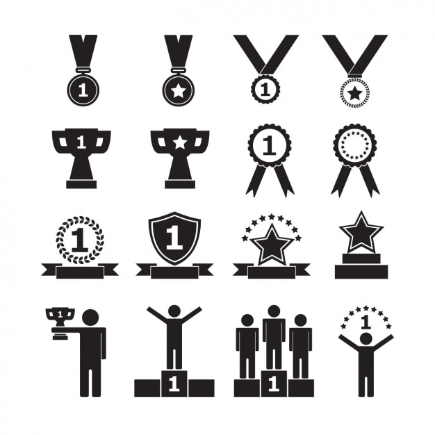 Trophy icons collection Free Vector