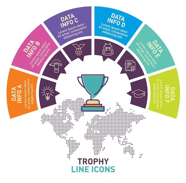 Trophy infographic template vector design Premium Vector