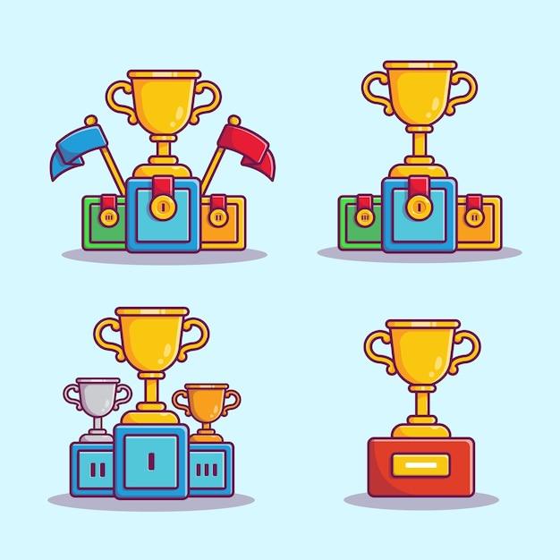 Трофейный набор мультфильм векторные иллюстрации. чемпион и концепция награды изолированные вектор. плоский мультяшном стиле Бесплатные векторы