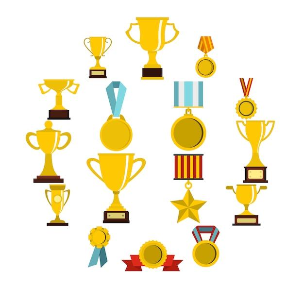 Trophy set flat icons Premium Vector