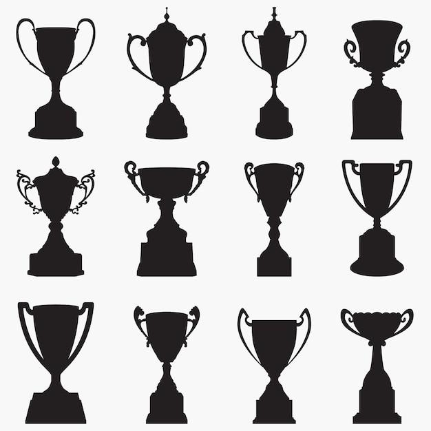 Trophy silhouettes Premium Vector