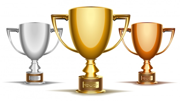 Trophy tournament cup set Premium Vector
