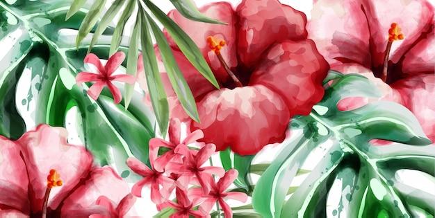 Tropic flowers background watercolor Premium Vector