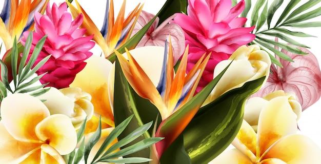 Tropic flowers watercolor background Premium Vector
