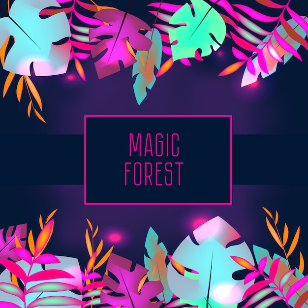 Tropic flyer template. neon tropical jungle leaves and frame Premium Vector