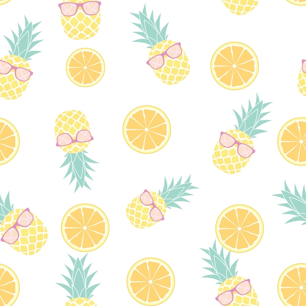 Tropic fruit pineapple and orange seamless pattern design. vector illustration Premium Vector