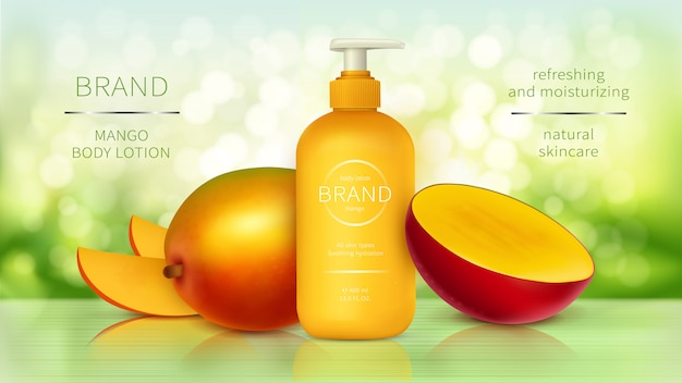 トロピックマンゴー化粧品リアルな広告 無料ベクター