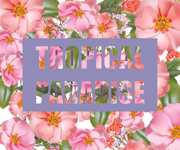 Тропическая рая. векторные экзотические цветы фон летом слияния Premium векторы