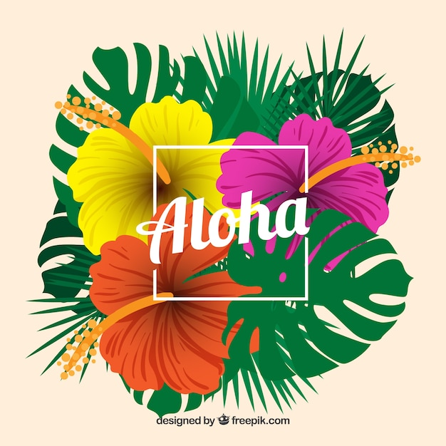 tropical aloha background with colorful flowers vector