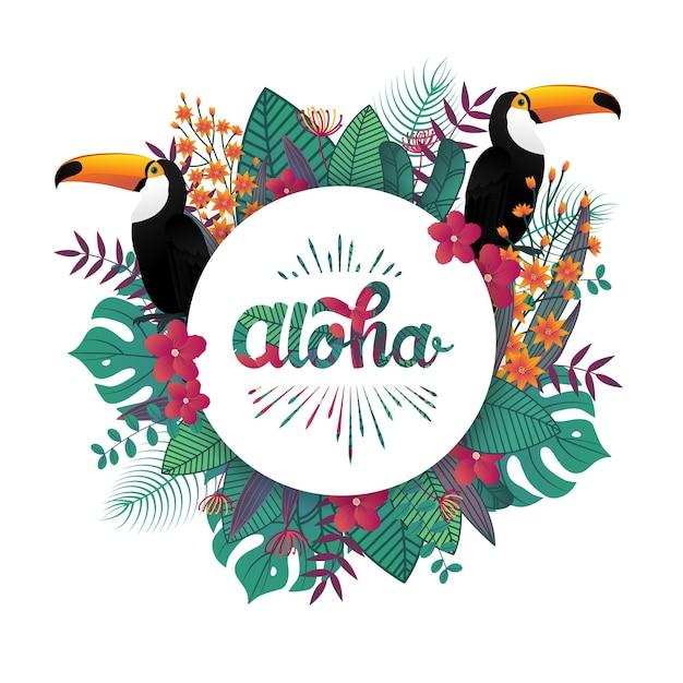 Tropical aloha banner template decoration leaf and toucan birds. Premium Vector