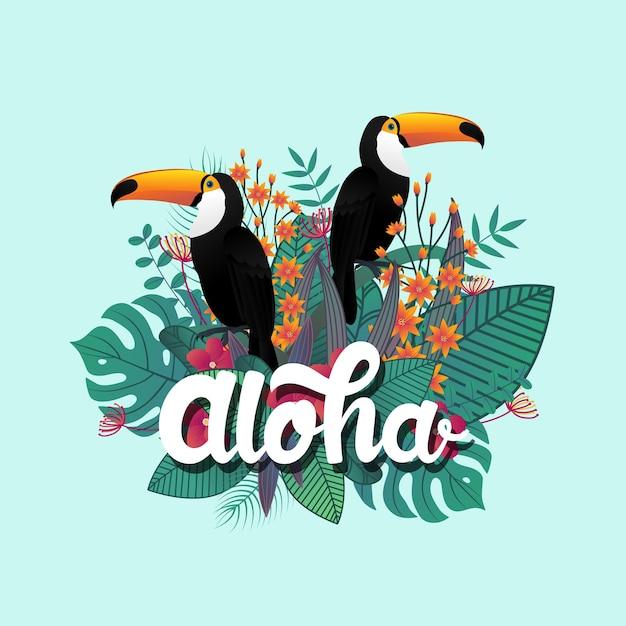 トロピカルアロハポスターテンプレートの装飾葉とタカアの鳥。 Premiumベクター