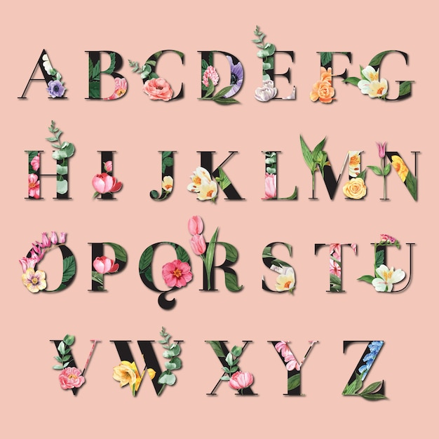 Tropical alphabet san-serif font typographic summer with plants foliage Free Vector