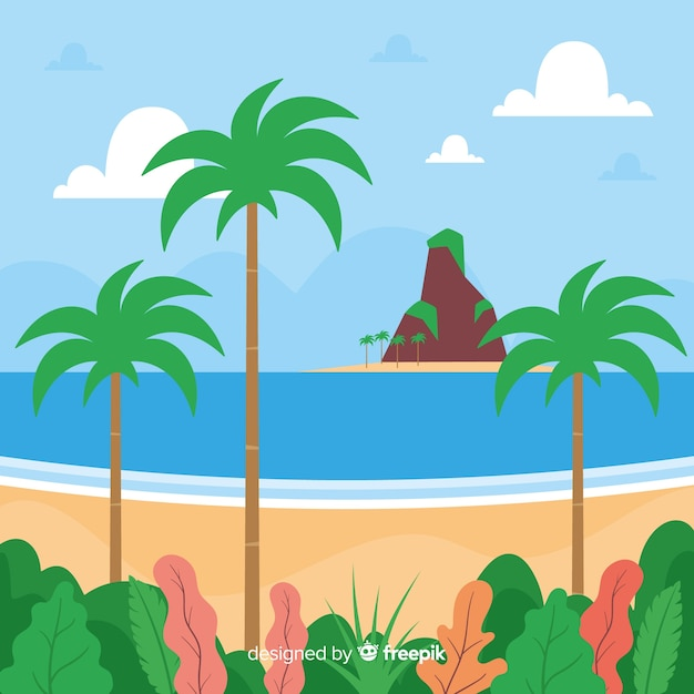 Tropical background vector beach landscape Free Vector