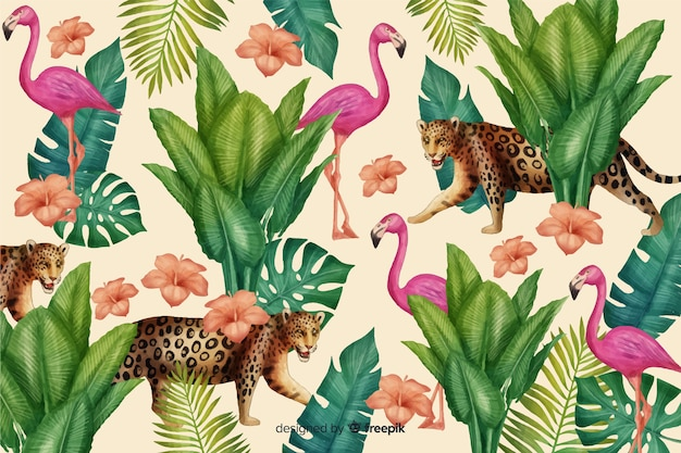 Tropical background with animals Free Vector