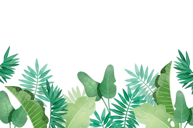 Tropical background with different leaves Free Vector