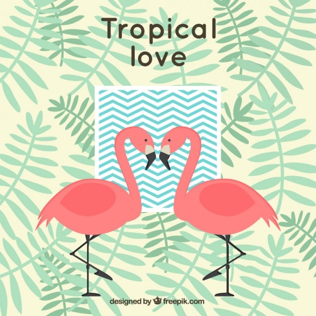 Tropical background with flamingos and palm\ leaves
