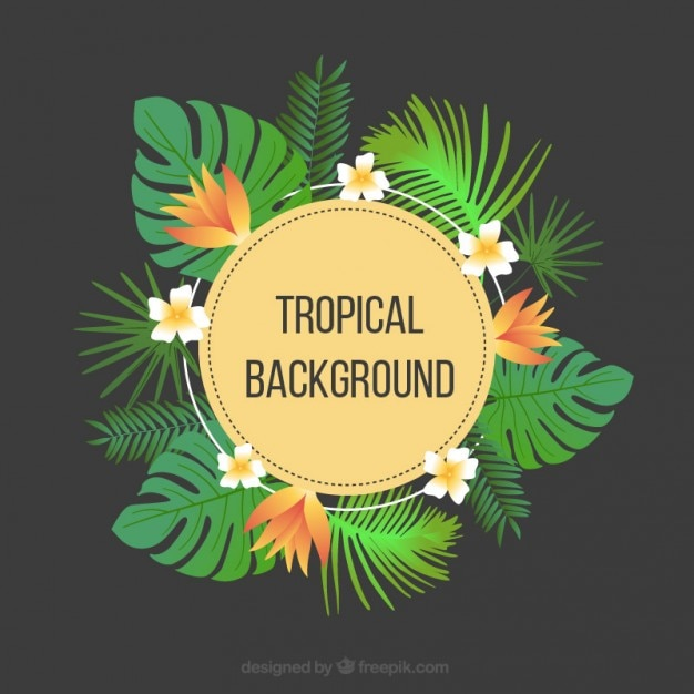 tropical background with flowers and palm leaves vector free clip art spring flowers f free clip art spring flowers and insects