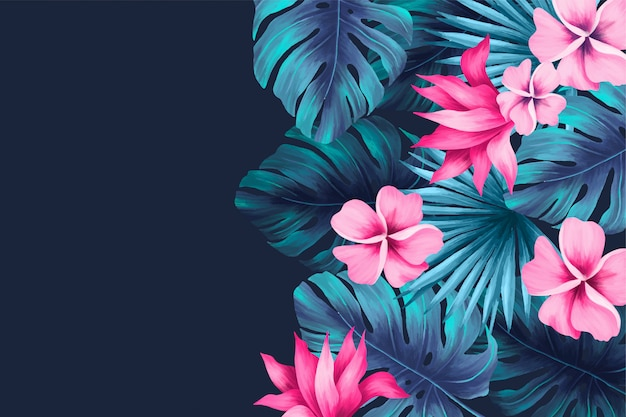 Tropical background with leaves and flowers Free Vector