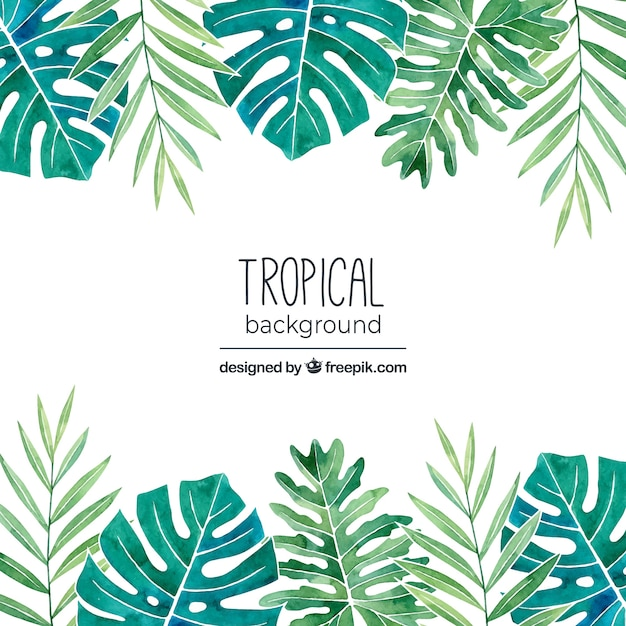 Tropical background with leaves in watercolor\ style