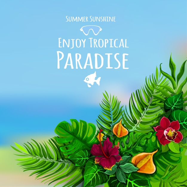 Tropical background with monstera Free Vector