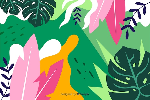 Tropical background with plants and leaves composition in flat style design Free Vector