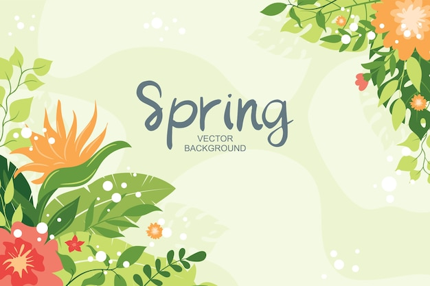 Tropical background with plants, leaves and floral composition, simple and trendy  style Premium Vector